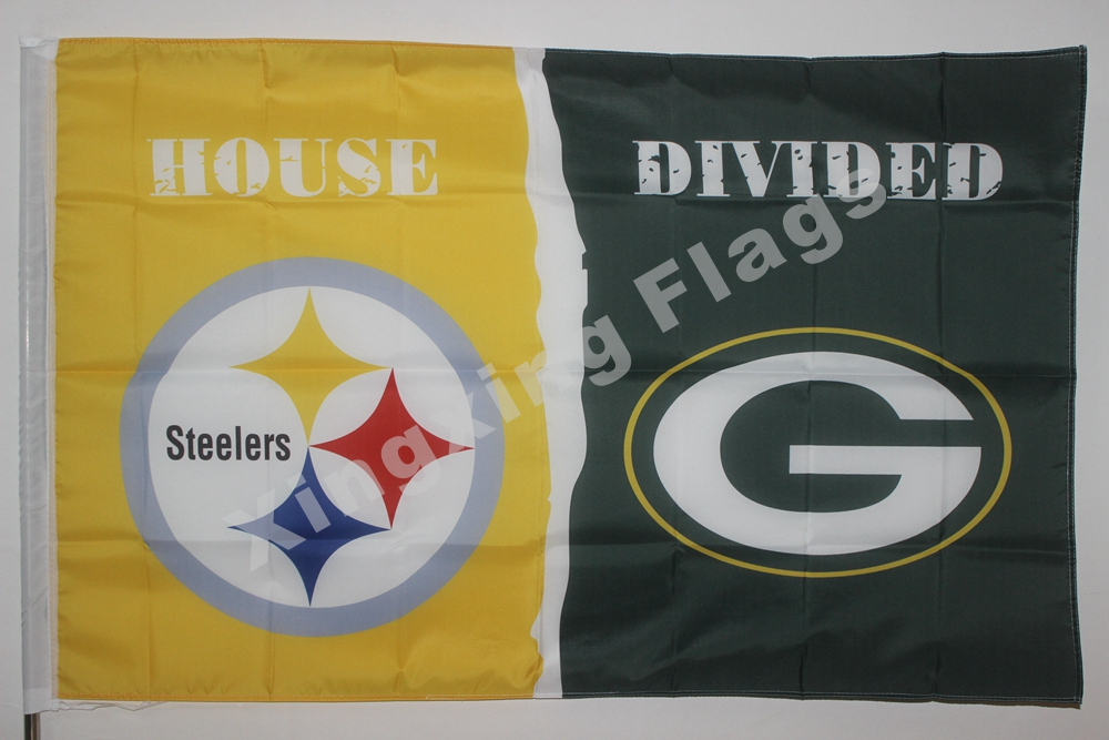 Pittsburgh Steelers Green Bay Packers House Divided Flag 3ft X 5ft Polyester NCAA Banner Flying Size No.4 144* 96cm Cust(China (Mainland))