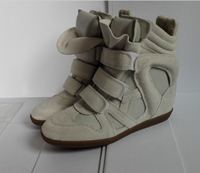 New 2015 Isabel Marant Wedge Genuine Leather Women Fashion Sneakers High Top Designer Platform Height Increasing Breathable Shoe