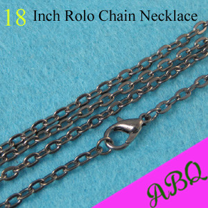 45cm (18 inch) Gunmetal Rolo chain necklace, 3mm thick Cable Chain, 18 Inch Oval Link Rolo Chains with Lobster Clasp Connected(China (Mainland))