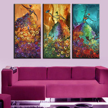 Unframed 3 Panel Colorful Dancer Handmade Abstract Modern Oil Painting On Canvas Home Wall Picture For Home Decoration Artwork(China (Mainland))