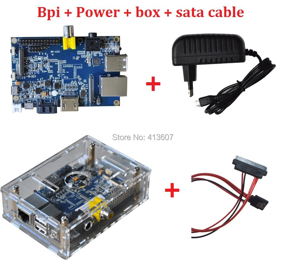 Free shipping Banana pi +power + sata cable + transparent case compatible with Raspberry Pi,cubieboard with Gigabit ethernet(China (Mainland))