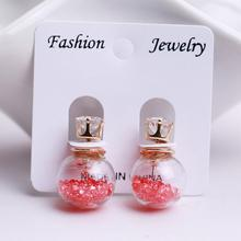 2015 Hot Fashion brand Jewelry Double Sided Glass Stud Earring  For Women Crystal Ball Zircon Female Piercing Statement Earring(China (Mainland))