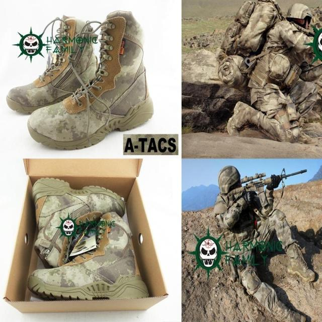 Men's Desert Tactical Boots Army Military Combat Boots Climbing Mountain Boots Hiking Shoes 1000D Camouflage ATACS(China (Mainland))