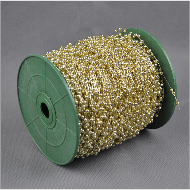 Free shipping120 m wholesale Christmas ornaments export plating gold and silver environmental test fishing line 3MM beads string(China (Mainland))
