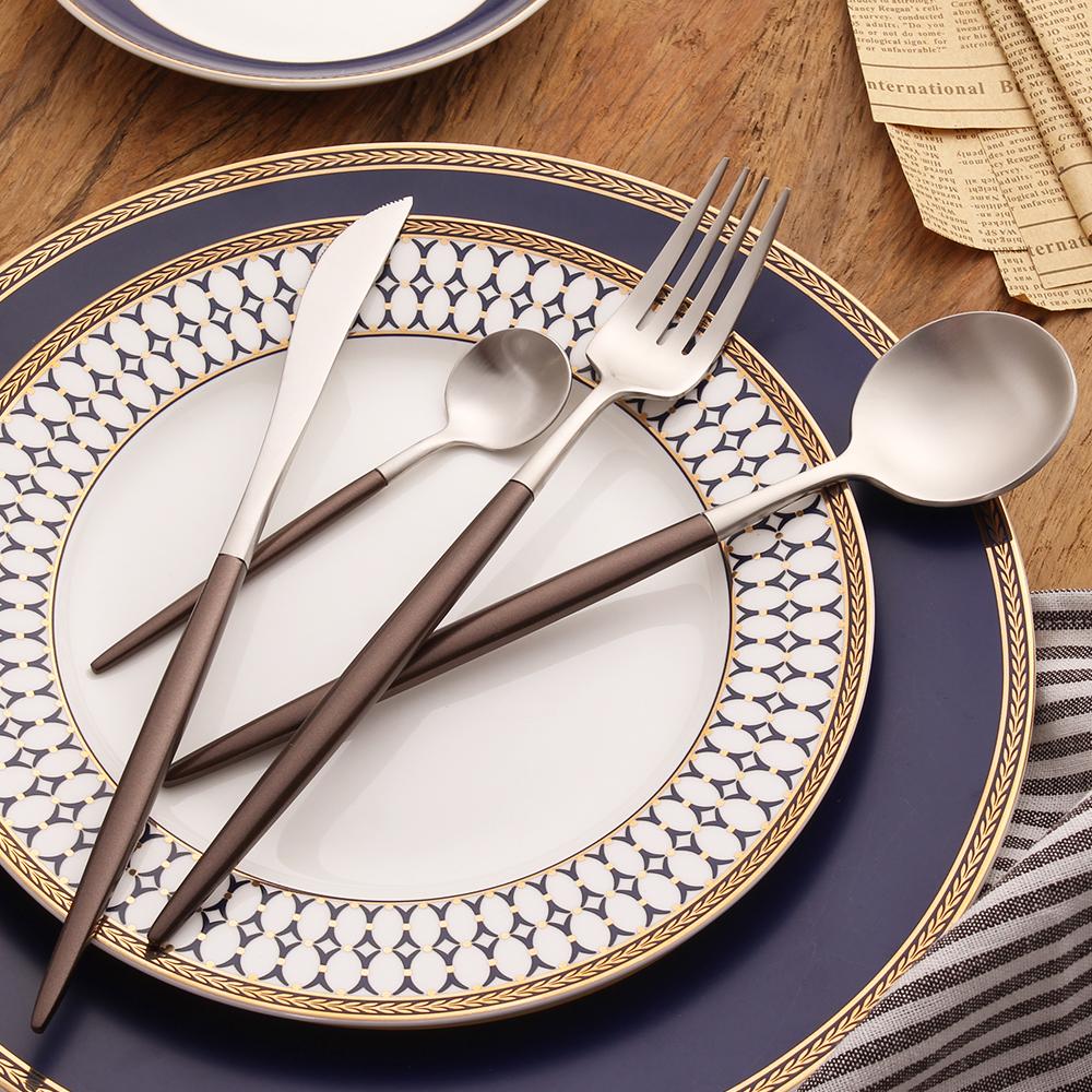 Brown Handle 18/10 Stainless Steel Silverware Set Fork Knife Scoops Dinnerware Set Tableware Set Birthday Gift Cutlery Set(China (Mainland))