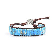 Chakra Gelang Perhiasan Buatan Tangan Multi Warna Batu Alam Tabung Manik-manik Bungkus Kulit Pasangan Gelang Kreatif Hadiah Dropshipping(China)