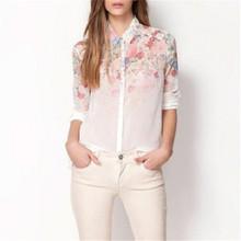 2014 Fashion Women Girl Lapel Collar Button Flowers Chiffon Long Sleeve Shirt Blouse Tops#49597(China (Mainland))
