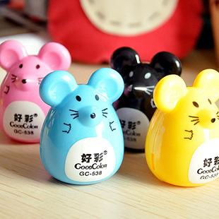 2 pcs Random Color Mini Kawaii Funny Cute Lovely Mouse Pattern Pencil Eye Pen Pencil Sharpener School Kid's Favorite(China (Mainland))