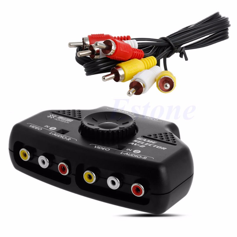 New Arraival 2Way Audio Video AV RCA Game Selector Switch Box Splitter Cable 3RCA For XBox DVD free shipping(China (Mainland))