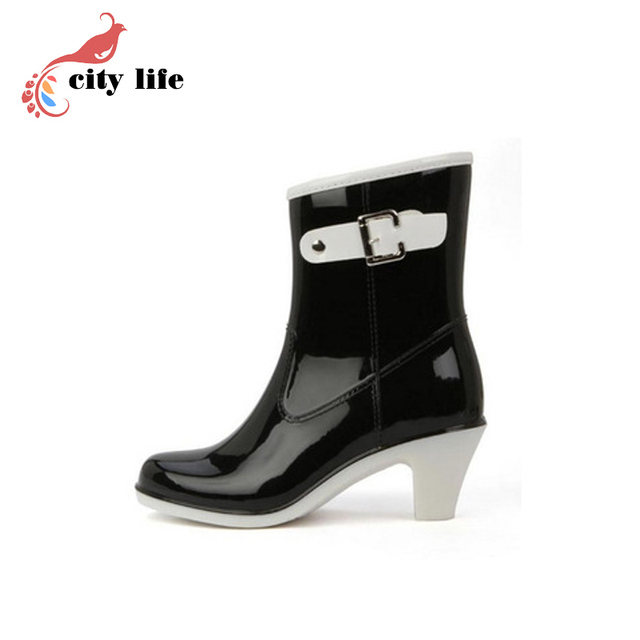Fashion Elegant High Female Boots Buckle Ankle Boots Rainboots Women Rain Boots Botas Femininas 2015 GalochaDiscount