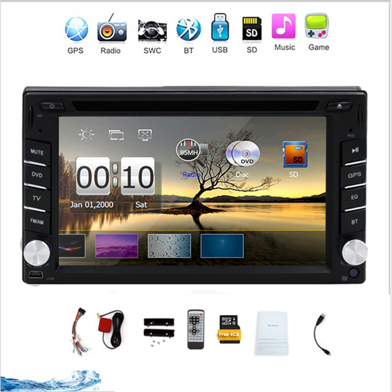 New Car Radio Auroradio Double 2 din car dvd player GPS Navigation In dash Car PC Stereo Head Unit video with Free Map Card(China (Mainland))