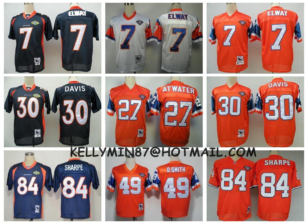Stitiched,Denver Broncos ,Dennis Smith,John Elway,Terrell Davis,Steve Atwater,Shannon Sharpe,Peyton Manning,Throwback(China (Mainland))