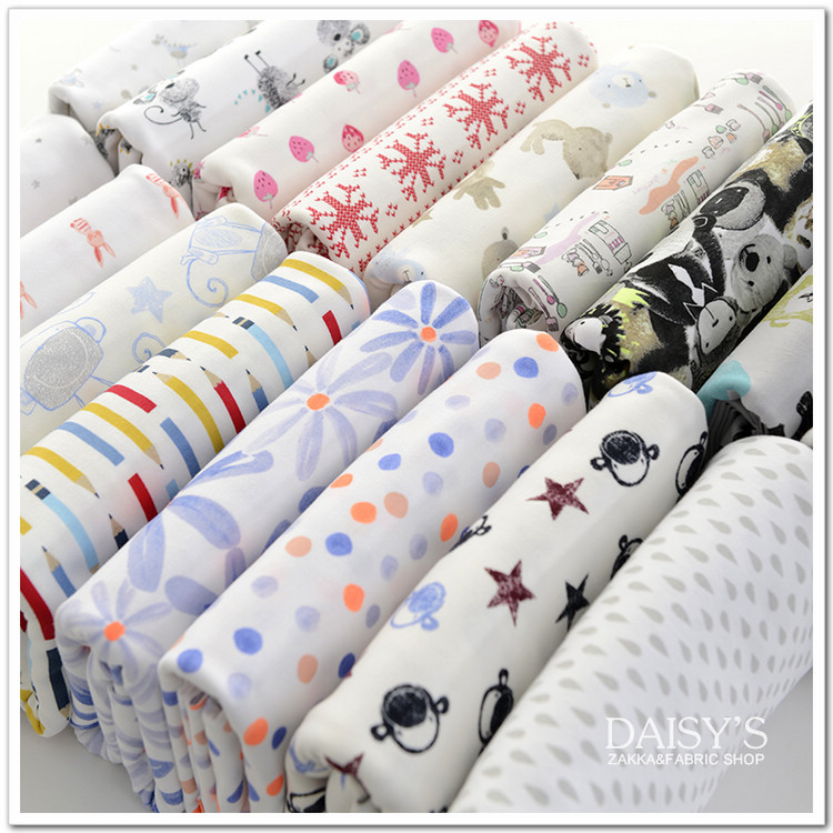 2015 New Cotton Jersey Knit Fabrics Tulle High Quality 2pc 170*50cm 100% cotton jersey fabric Organic Bedding Baby Garment Cloth(China (Mainland))