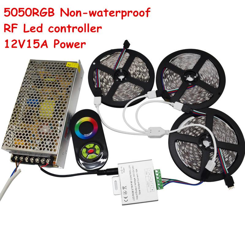 15m LED Strip SMD 5050 RGB Light DC12V 60Led/m Non-Waterproof Light + RF Touch Remote+ 12V 15A Power Supply(China (Mainland))