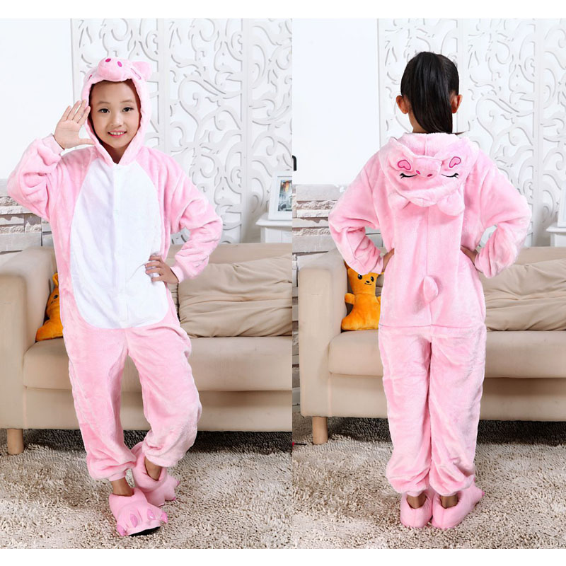 Kids Cosplay Costumes Boys Animal Onesies Homewear Baby Girls Pink Pig Pajamas Children Flannel Funny Sleepwear For 3-12 Years(China (Mainland))