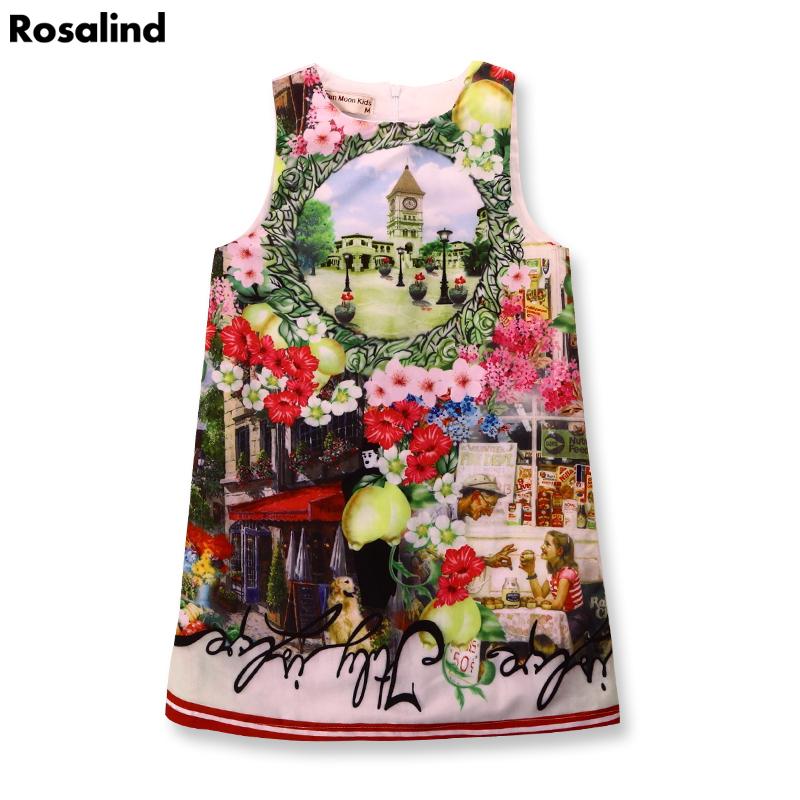 Wholesale price girl dress summer girls clothes flower print party wedding dress fashion kids dresses for girls vestido infantil(China (Mainland))