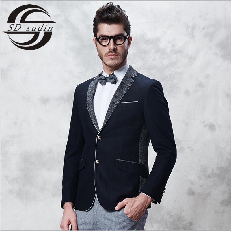 S&D Classic Black Turn-Down Collar Casual Blazer Men 2015 Brand Soft And Comfortable British Style Wool Blazer Coat M-2XL SDG55