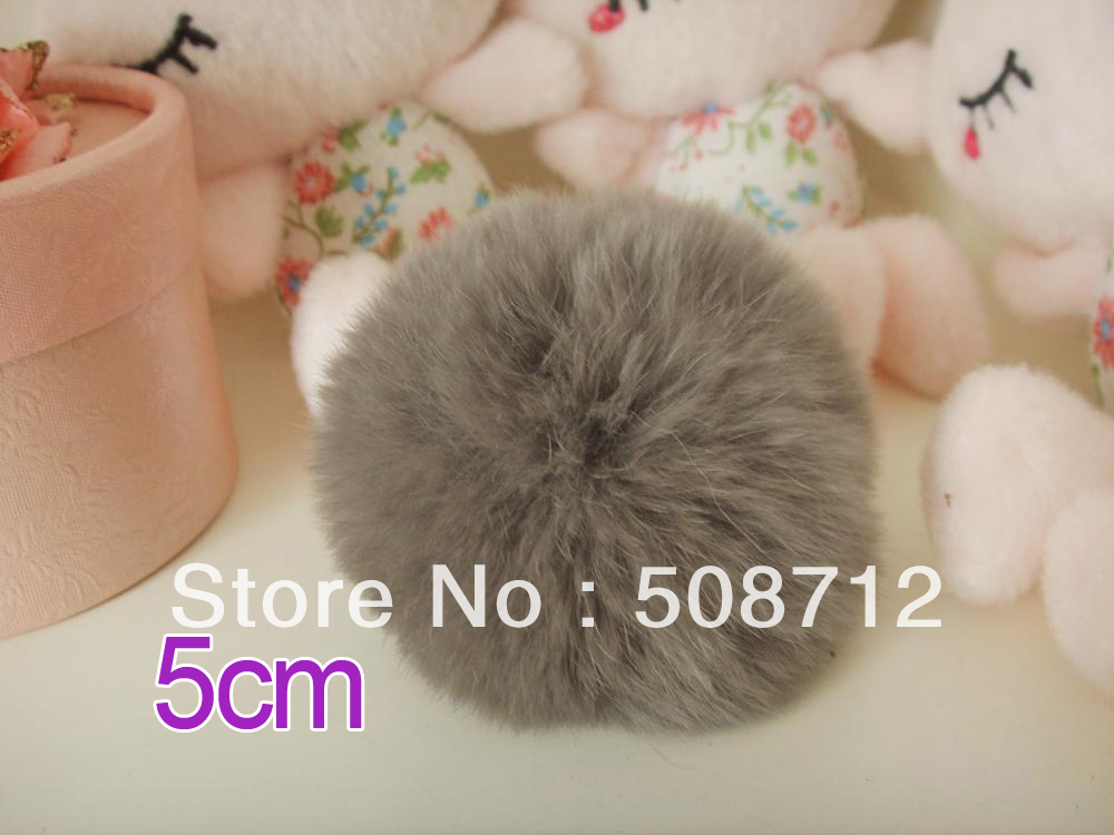 Free shipping!!!! 50pcs 5cm high-quality soot color genuine rex rabbit fur ball fit Cell Phone Pendant key Chain or hair pom pom<br><br>Aliexpress