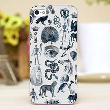 Ink drawing Design Customized transparent case cover cell mobile phone cases for Apple iphone 4 4s 5 5c 5s hard shell
