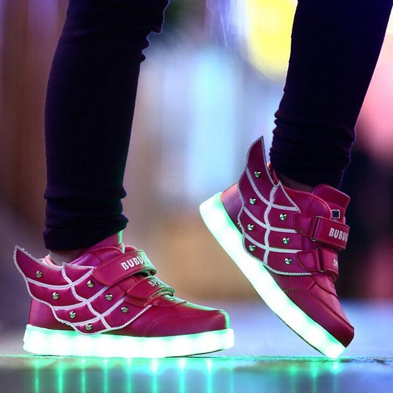 2016 Fashion Wings Children sneakers Kids LED light shoes high top walking Boys Girls luminous sport