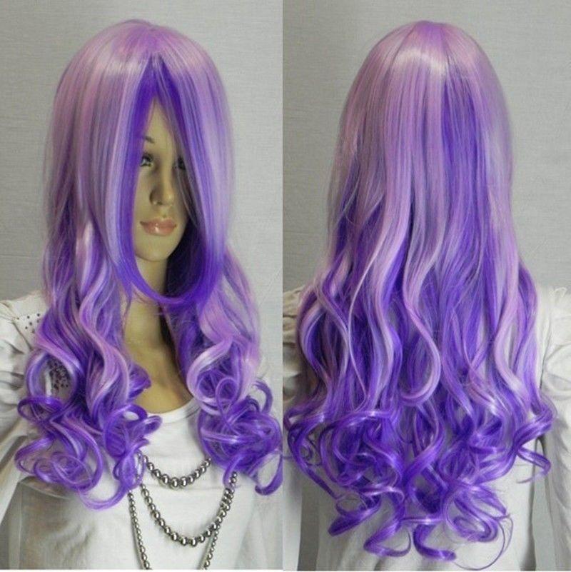 TJS Wholesale NEW Cosplay beautiful long purple mixed curly women font b wig b font