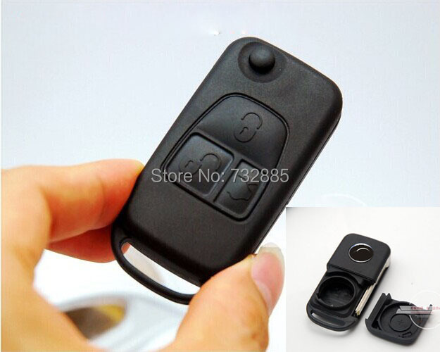 Brand New Uncut Blade Key Case For 3 Buttons Mercedes Benz Folding Flip Remote Key Shell 4 Track HU39 Blade(China (Mainland))