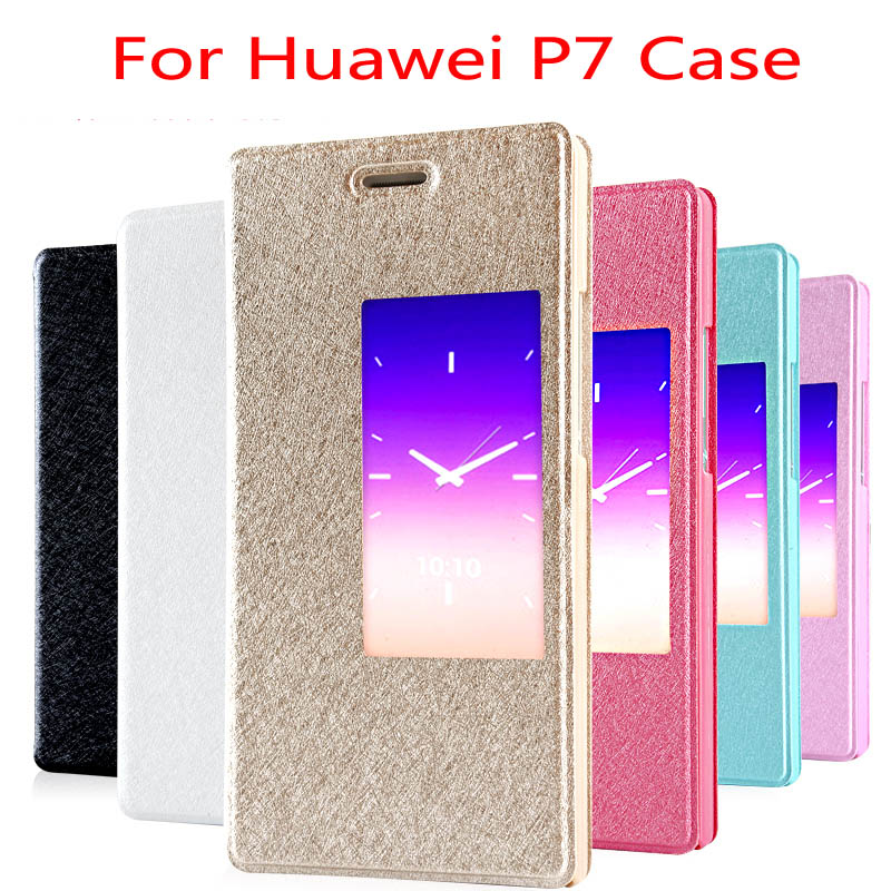 Fundas Huawei Ascend P7 Luxury PU Leather Flip Case Cover Phone Cases Stand Window + - NK-QA Store store