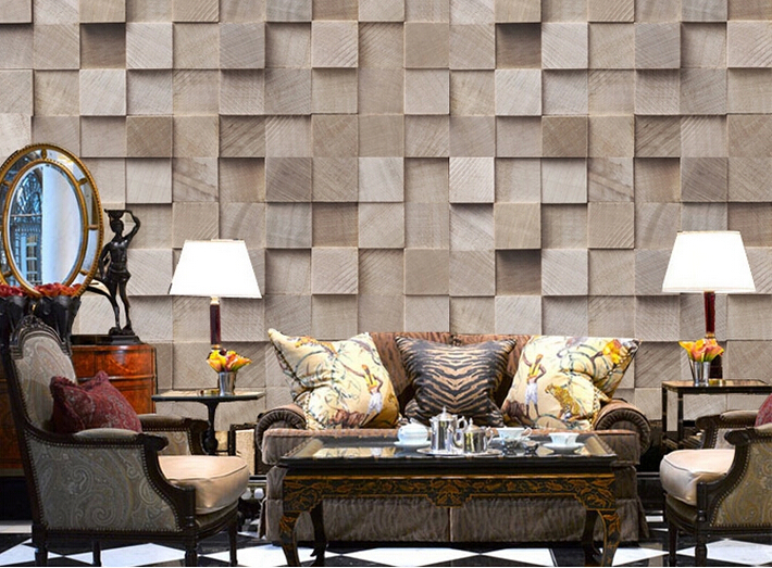 new Customize size European retro wallpaper background wallpaper 3d stereo wood living room bedroom sofa background(China (Mainland))