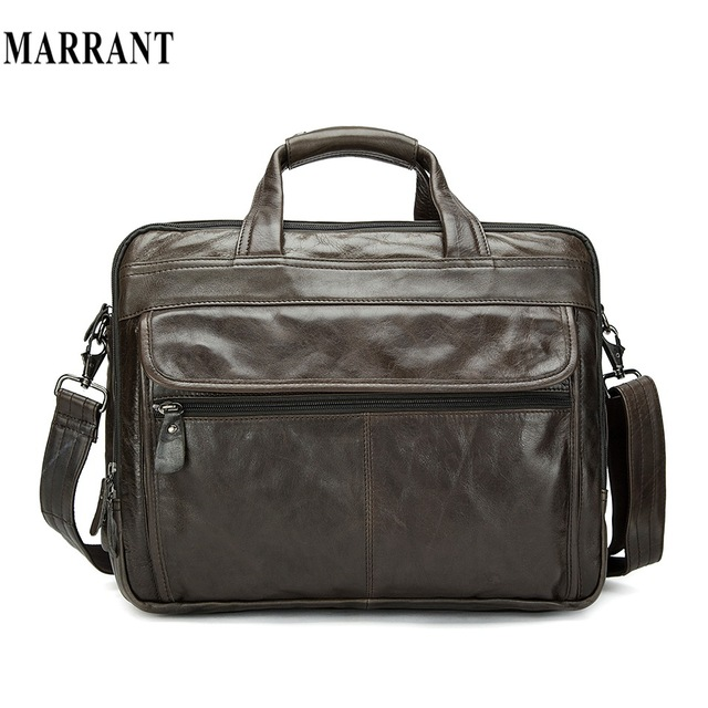 100% натуральная Кожа мужской Портфель мужчины сумка Для Ноутбука топ бизнес мужская ...