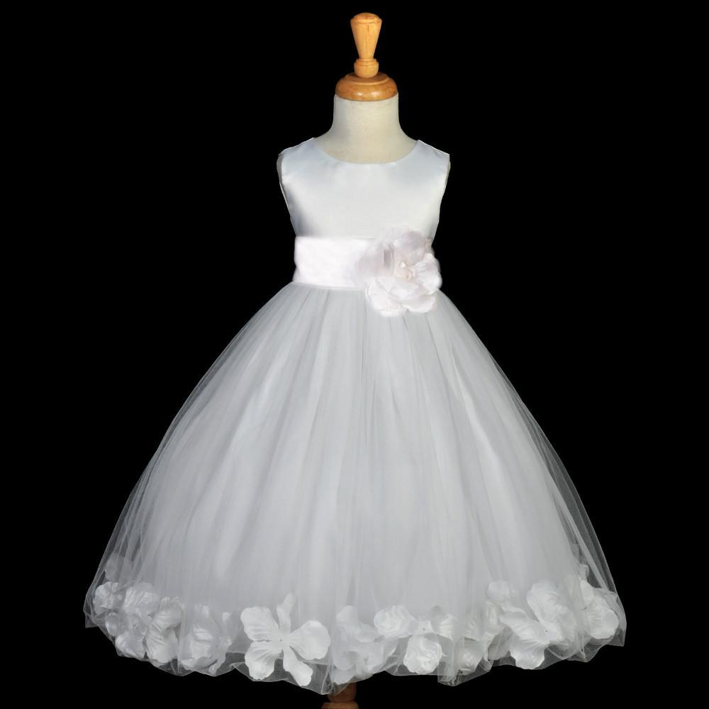 White communion pageant easter wedding petal flower girl for Wedding flowers girl dresses