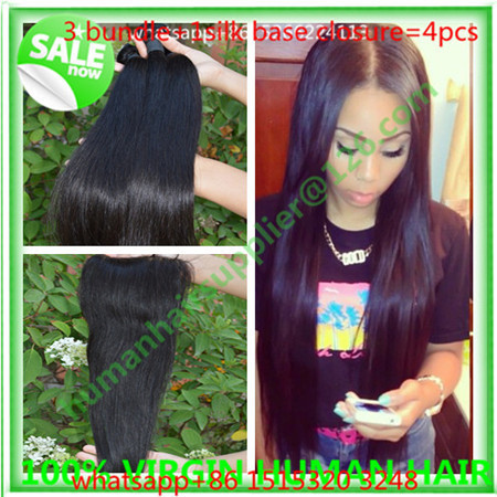 brazilian straight hair with silk base closure 4pc brazilian straight hair with silk closure brazilian virginy hair with closure<br><br>Aliexpress