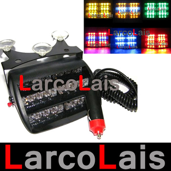 18 LED Strobe Lights with Suction Cups Car Fireman Flashing Emergency Warning Yellow White Blue Amber Red Green
