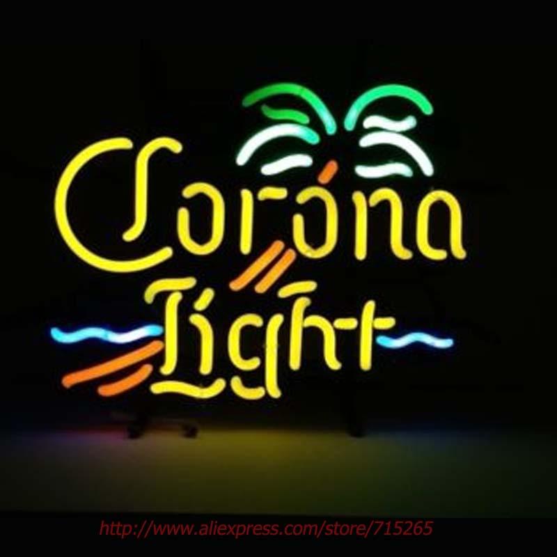 Corona Light Beer Neon Bulbs Palm Tree Neon Sign Real Glass Tube Handcrafted Recreation Windows Garage Advertise Guarantee 17x14(China (Mainland))