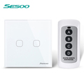 SESOO Remote Control Switch 2 Gang 1 Way White Crystal Glass Switch Panel Remote Wall Touch