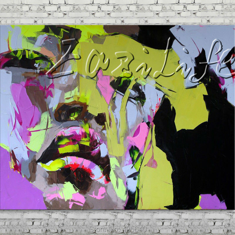 Buy Palette knife portrait Face Oil painting Character figure canva Hand painted Francoise Nielly wall Art picture for living room46 cheap