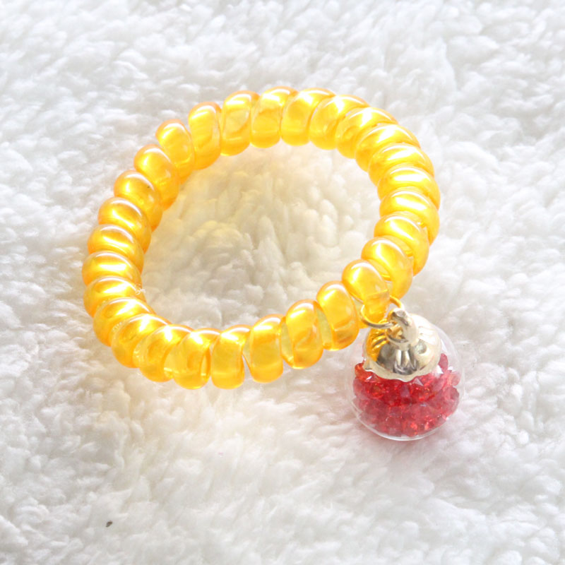 2016 New Arrivals High quality Korea Candy colors Full of Red crystal clear glass ball High elasticity hair rope Free shipping(China (Mainland))