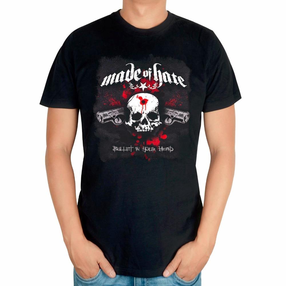 2 pattern design Skull Summer Style MADE OF HATE Punk Rock Black T shirt mma fitness 100%Cotton Heavy Metal print Tshirt XXXL(China (Mainland))