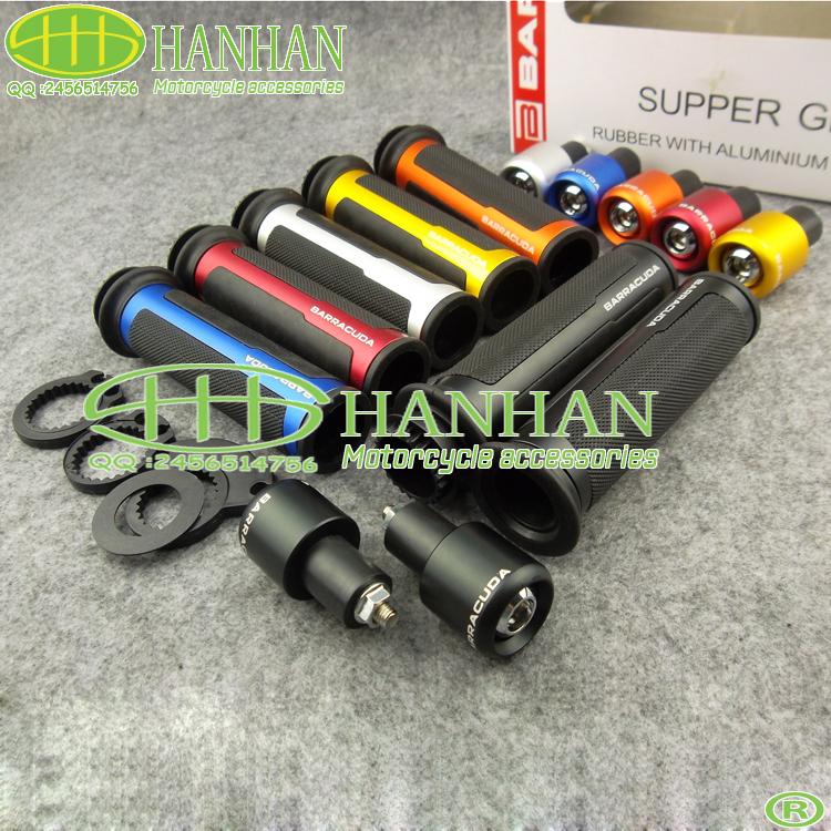 Free shipping ! BARRACUDA 7/8'' Motorcycle Handle bar CAPS / Handlebar Grips CNC 22MM Universal Street & Racing(China (Mainland))