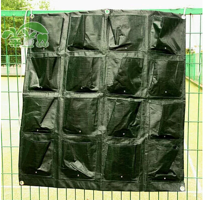 Free shipping,16 pockets Outdoor Vertical Gardening Flower Pots Planter, Hanging Pots Planter wall Green Field 87*82cm