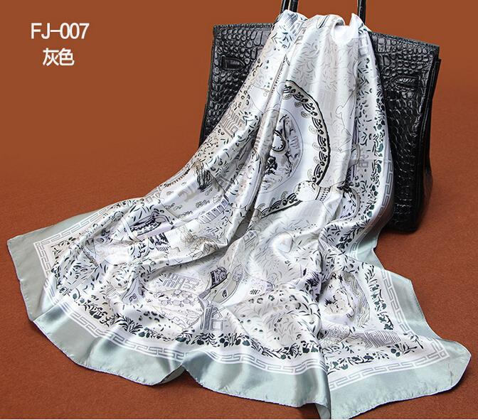 1PC Satin Wrap China Hijab Capes Satin Foulard High Fashion Designer Brands 2014 New Women 90*90 Square Scarf Wrap S9A9144(China (Mainland))
