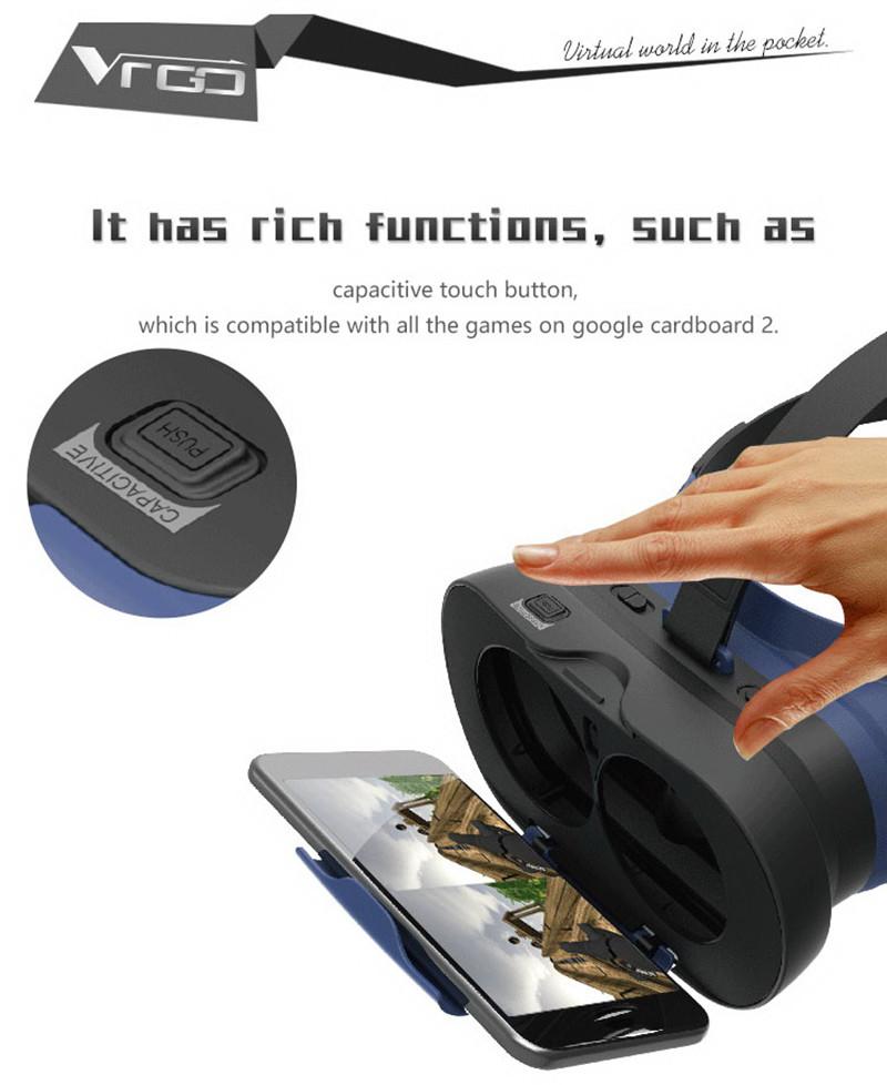 RITECH VR GO Mini Folding VR Glasses + Bluetooth Controller for 4.7-6.0 Smartphone
