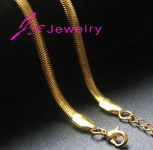 18k gold silver flat snake chain necklaces stainless steel herringbone crime chunky gold chains necklaces fine