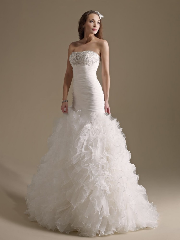 White organza mermaid wedding dresses tiered ruffles for Mermaid wedding dress with ruffles