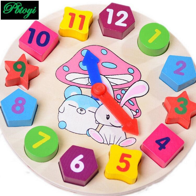 Clock puzzles toys wooden toys Arabic numbers wall clock toys xmas gift for baby PG0545(China (Mainland))