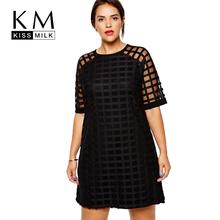 Kissmilk Plus Size Fashion Women Clothing Casual Solid Plaids OL Style Perspective Patchwork Big Size Dress 5XL 6XL vestidos(China (Mainland))