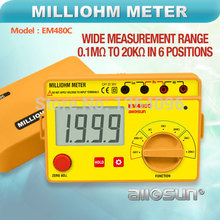 all-sun Yellow Milliohm Meter LCD 0.1M -20K in 6 Postions Accurate Wide Measurement Range Resistance Meter EM480C