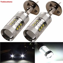 Buy 2Pcs Xenon White 80W High Power 900 Lm H1 Fog Light Lens Bulbs DRL Lamp Cree Chips 16SMD Auto Car Daytime Running Driving Lights for $23.40 in AliExpress store