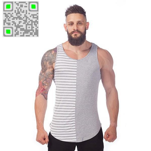 Hot Selling Men's Stripe Cotton Tank Top Men Gym Tank Tops Bodybuilding Tank Top Gold Fitness Vest Undershirt Sleevless Shirts(China (Mainland))