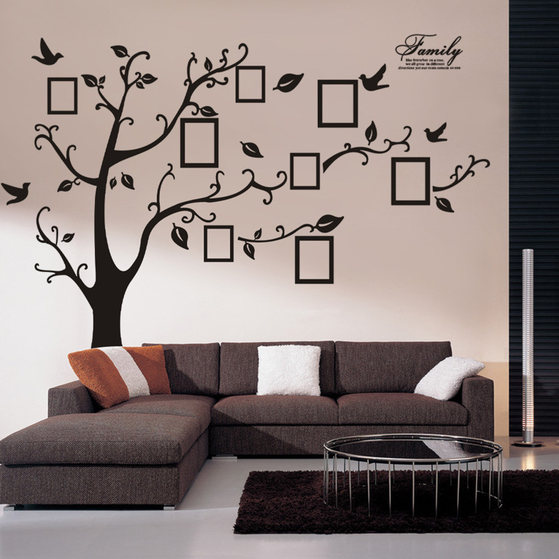 Wall stickers home decor wall sticker tree family tree picture photo frame tree wall art - Home decor picture ...
