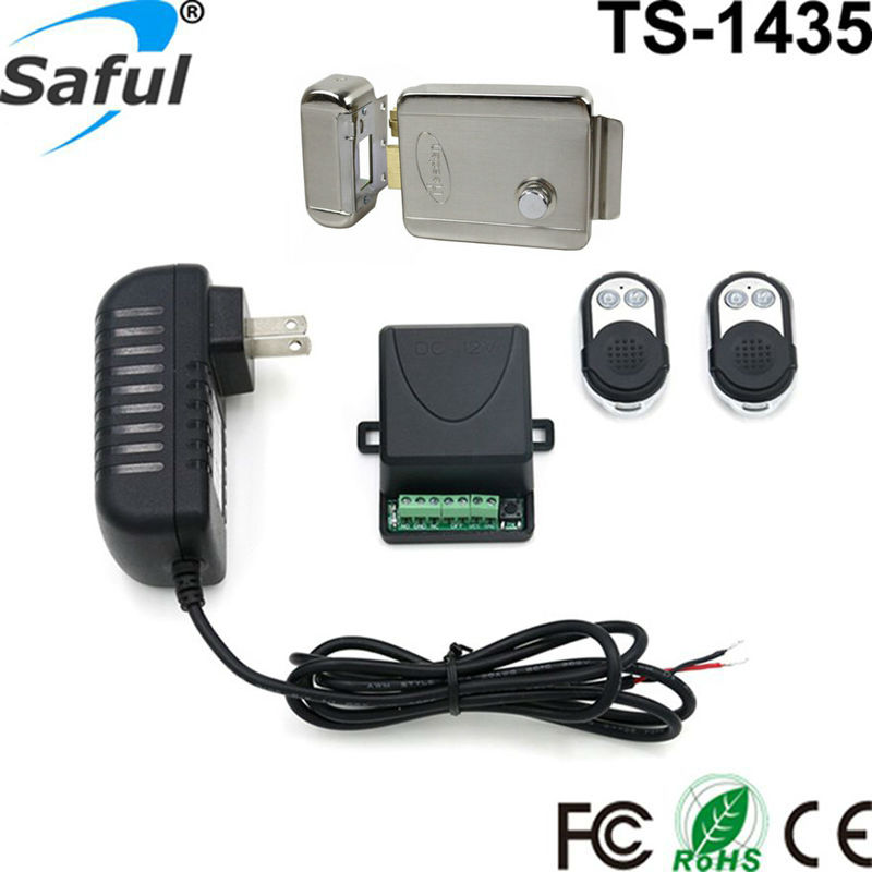 Electronic door entry lock 12V stainless steel electric lock access control system with remote control(China (Mainland))